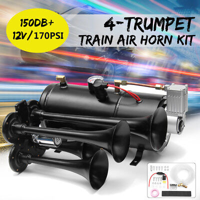 Car Truck Train Quad 4 Trumpet Air Horn Kit 170PSI 150db 12V Compressor & Hose
