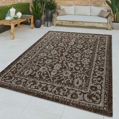 Flachgewebter In-& Outdoor Teppich Orientalisches Muster Bordüre Braun Modern ()