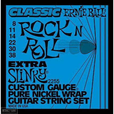 - Ernie Ball 2255 Pure Nickel Wrap Extra Slinky Electric Guitar Strings 8-38