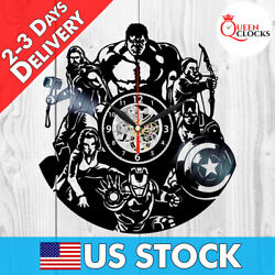 Marvel Avengers Clock Endgame Vinyl Wall Art Decor Thor Nursery Birthday Gifts