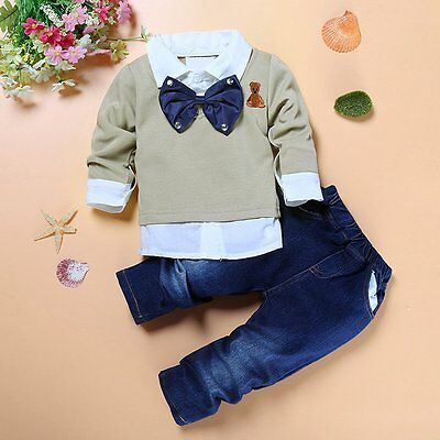 2pcs Kids Baby Boys Gentleman Coat Shirt Tops+Denim Pants Clothes Outfits Set