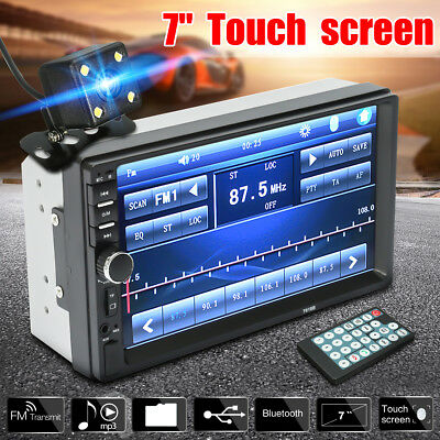 7 Double 2 Din Touch Screen Car MP5 MP3 Player Bluetooth Stereo FM RadioCamera