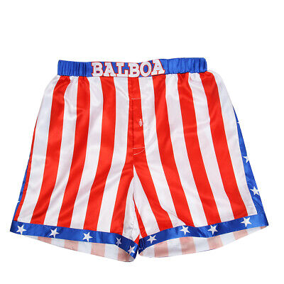 1 Pcs Rocky Balboa Mens Movie Boxing Costume Shorts American Flag Boxer New
