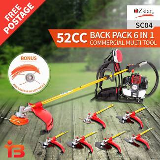 OZ Star 52cc 6 in 1, 5 Blades Backpack Brushcutter Line Trimmer