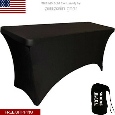 New Pro Dj Table Scrim 4 Black Stretch Spandex Cover W Cable Holes Free Bag
