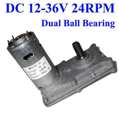 High Torque 12v 24v 36v 24rpm Square Electric Metal Gear Motor Dual Ball Bearing