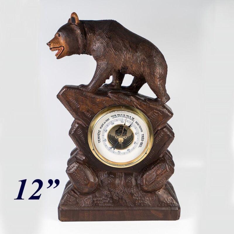 "Charming Antique to Vintage Hand Carved Black Forest Bear, 12"" Barometer Stand"