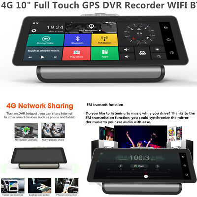 """4G 10"""" FHD Touch Android 5.1 GPS Car DVR Dashboard Recorder BT WIFI FM +Camera"""