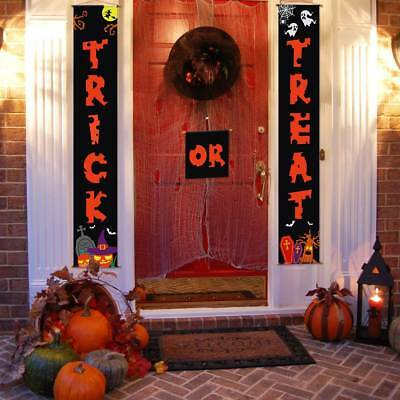USA Halloween Porch Trick or Treat Banner House Door Sign Outdoor Hanging - Halloween Porch Decor
