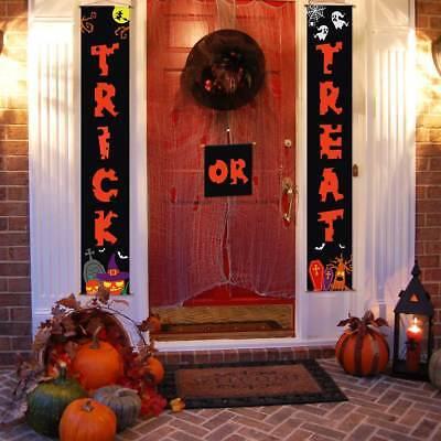 Halloween Trick Or Treat Door Sign (USA Halloween Porch Trick or Treat Banner House Door Sign Outdoor Hanging)