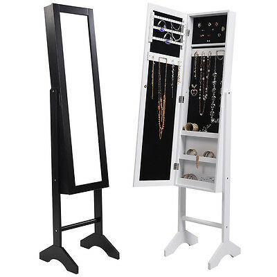 NEW MIRROR JEWELLERY JEWELRY CABINET STORAGE ORGANISER FLOOR STANDING BOX