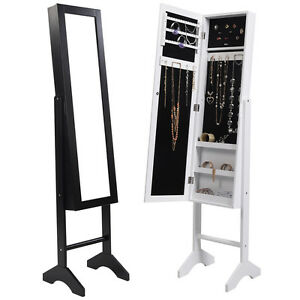 New mirror jewellery cabinet floor standing storage box for Floor standing mirrored bathroom cabinet