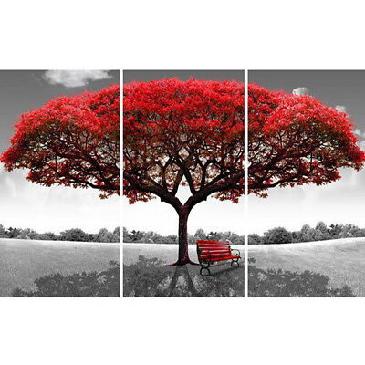 3Pcs Red Queen Tree Canvas Painting Print Wall Art Picture HD Decor Unframed UK