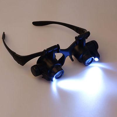 LED Brillenlupe Kopflupe Vergrößerung Augenlupe Lupenbrille 10X-25X +Box TE62