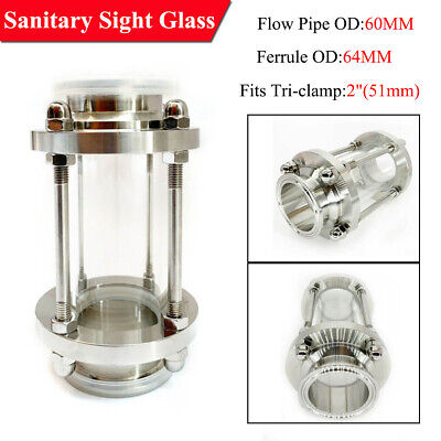 2 Sanitary Fitting Flow Sight Glass Multipurpose Tri Clamp 304 Stainless Steel