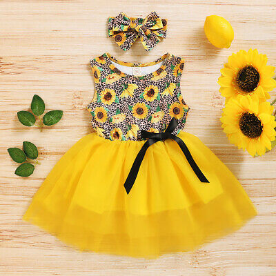Toddler Baby Kid Girl Yellow Sunflower Princess Dress Tutu Bow Outfit 12-18Month