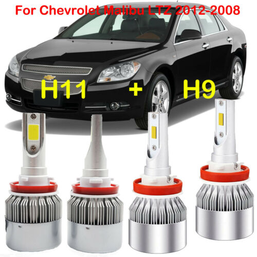 4x H9 H11 LED Headlight Kits Bulbs For Chevrolet Malibu LTZ 2012-2008 Hi/Lo Beam