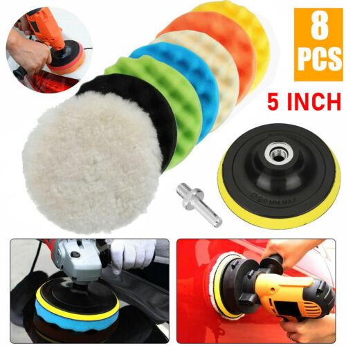 8Pcs 5 Inch Polishing Pads Sponge Waxing Foam Buffing Kit Car Polisher for Drill