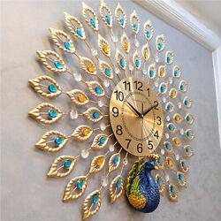 24 Golden Luxury Peacock 3D Large Wall Clock Modern Metal Big Watch Decor Gifts