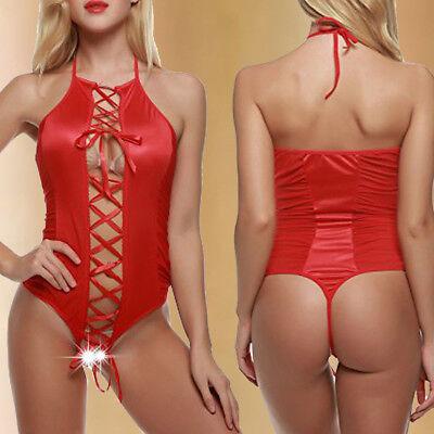 Sexy Lingerie Women Lace up Pajamas Bodysuit Teddy Babydoll Sleepwear Plus (Lace Up Teddies)