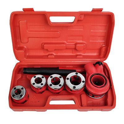 Ratchet Pipe Threader Kit Set Ratcheting w/5 Stock Dies & Handle Plumbing Case