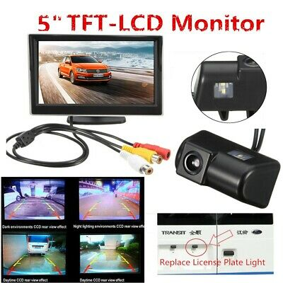 5''Car Monitor Rear Reversing Reverse CCD IR Camera Kit Connect Fit Ford Transit