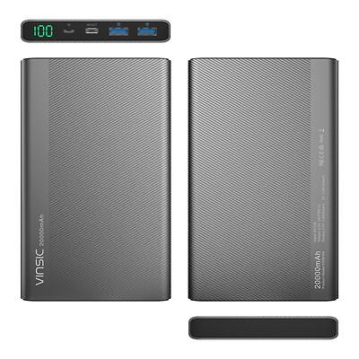 Vinsic 20000mAh QC 3.0 Quick Charge USB Classification-C Power Bank for iPhone Samsung S8