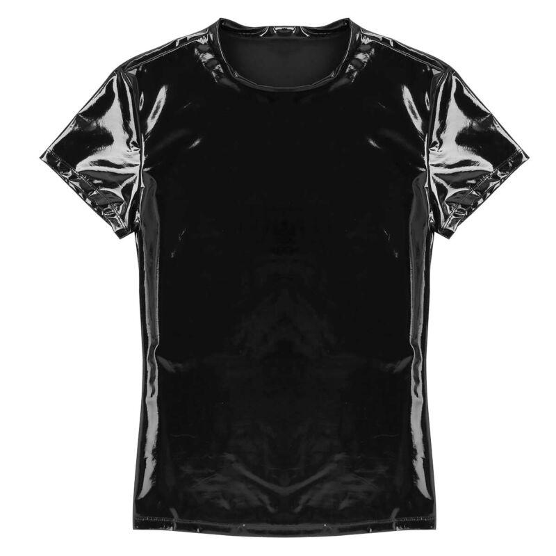 Herren Kurzarm T-Shirt Lack Leder Unterhemd Netz Top Oberteil mit Reißverschluss