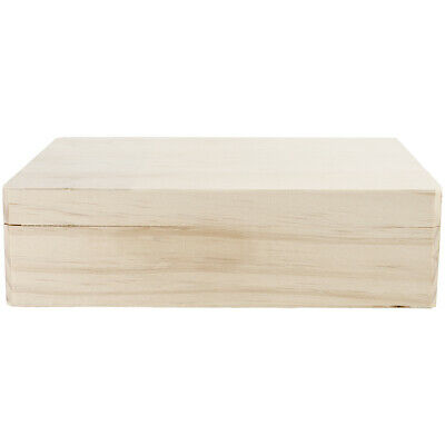 Darice Wooden Hinged Memory Box with Lid 12 X 9.125  X 3.25 Inches - Hinged Wooden Box