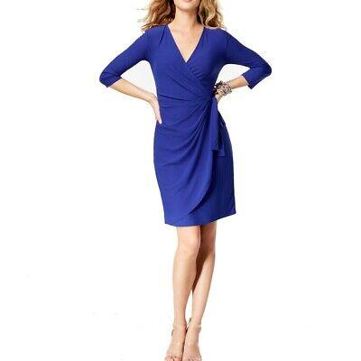 INC NEW Women's 3/4 Sleeve V Neck Faux Wrap Dress TEDO 3/4 Sleeve Faux Wrap