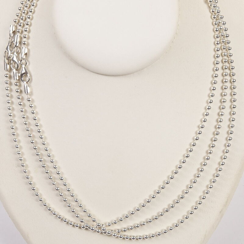 """6 pieces 18"""" 20"""" 24"""" Sterling Silver 925 3mm BALL Chain Necklaces Wholesale Lot"""