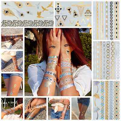 Flash Tattoos Temporary Gold Tattoo MEGASET, 5 Blätter mit 40 Motiven Malibu-01