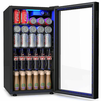 120 Can Mini Beverage Refrigerator Beer Wine Soda Drink Cooler Fridge Glass Door