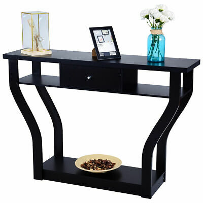 Accent Console Table Modern Sofa Entryway Hallway Hall Furniture W/Drawer Black
