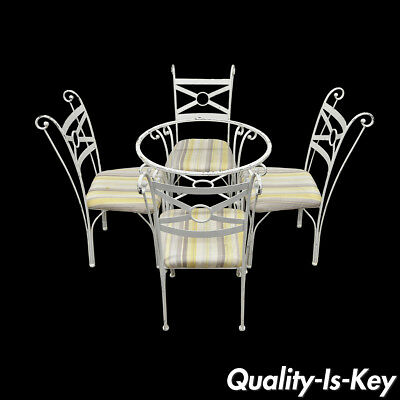 5 Pc Metal Kitchen Dining Bistro Set Round Table 4 Chair French Contemporary DIY
