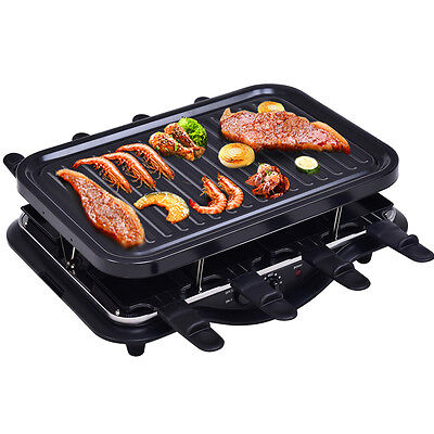 Raclette Grill Partygrill 8 Personen Pfännchen Raclettegrill Tischgrill 1200W