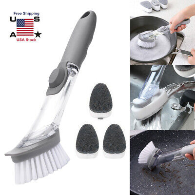 Washing Dish Sponge Scrubber Soap Dispenser Cleaning Brush With Refill KItchen