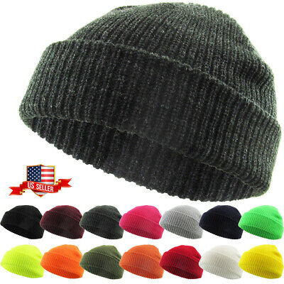 Warm Winter Knit Cuff Beanie Cap Fisherman Watch Cap Daily Ski Hat Skully