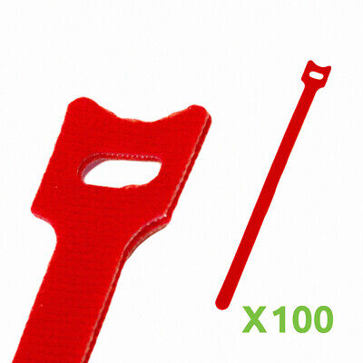10 Inch Hook And Loop Reusable Strap Cable Cord Wire Ties 100 Pack Red
