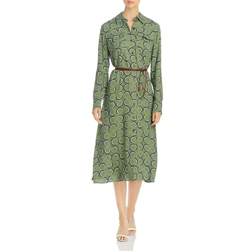 Lafayette 148 New York Womens Mandalyn Midi Belted Shirtdress Shirt BHFO 3916