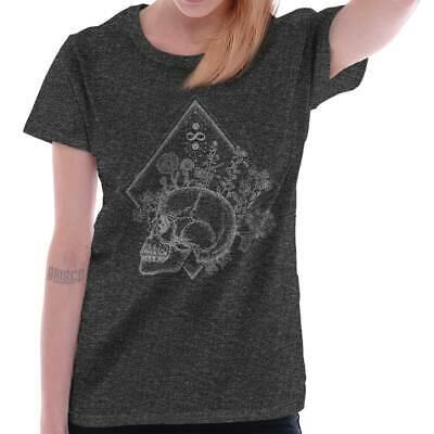 Skeleton Shirt Womens (Floral Skull Shirt Flower Mystic Skeleton Spirit Animal Gift Womens T)
