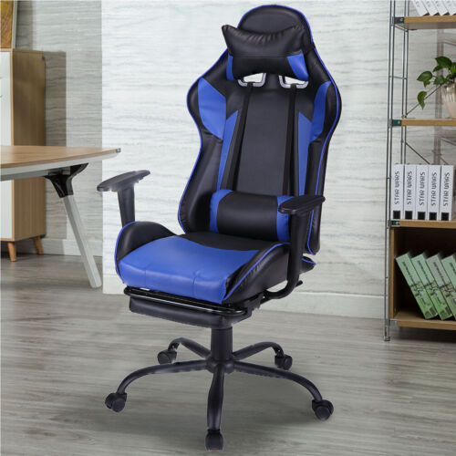 Ergonomic Office Gaming Chair Racing Recliner Bucket Seat Computer Desk w Blue