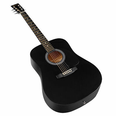 "Sonart 41"" Acoustic Folk Guitar 6 String w/Case Strap Pick String Black"