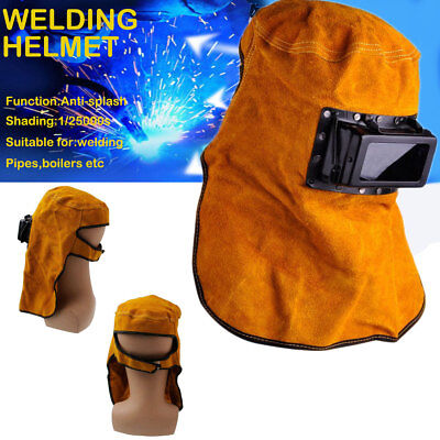 Solar Auto Darkening Filter Lens Welder Leather Hood Welding Helmet Mask New Us