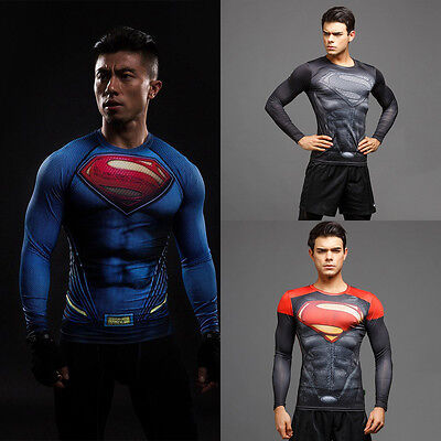 Herren Superman Kostüm T-Shirt Superheld Kompression Langarm Tank Top Partywear