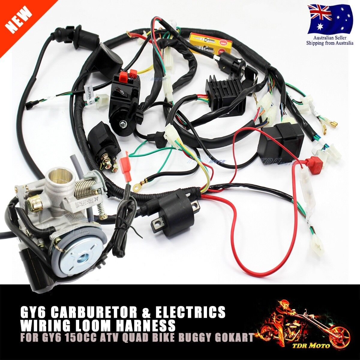 gy6 150cc carby carburetor wire loom harness solenoid coil howhit 150cc wiring harness roketa 150cc wiring harness