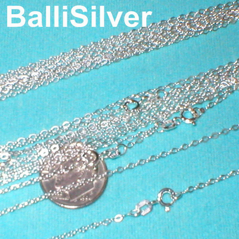 """10 pcs 18"""" 45cm Sterling Silver 925 Italian Fine FLAT CABLE Chain Necklaces Lot"""