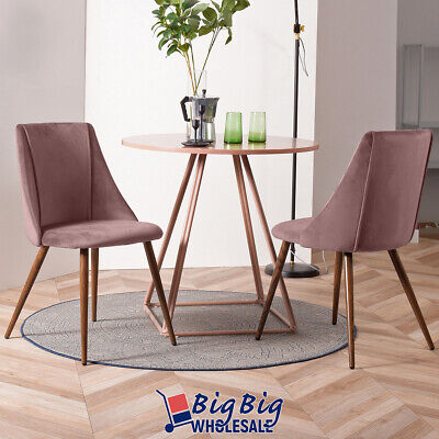 2x Dining Chairs Velvet Fabric Cushion Home Kitchen Furniture Seat Modern Pink