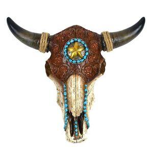 Resin/Leather Steer Skull&Horns Wall Mount Bull/Cow Head Western Star Home Decor
