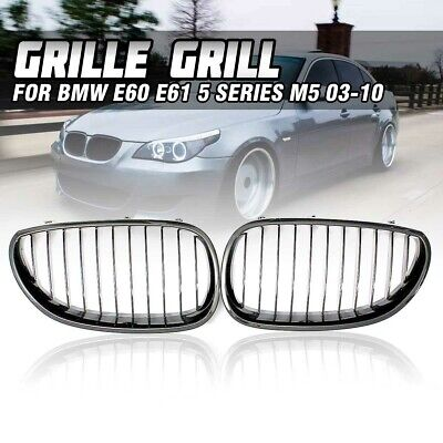 Gloss Black Kidney Front Mesh Grille Grill For BMW 5 series E60 E61 M5 2003-2009